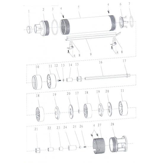 Насос Aquatica скважинный 777102. Насос центробежный 0.37кВт H 59(42)м Q 45(30)л/мин Ø75мм.