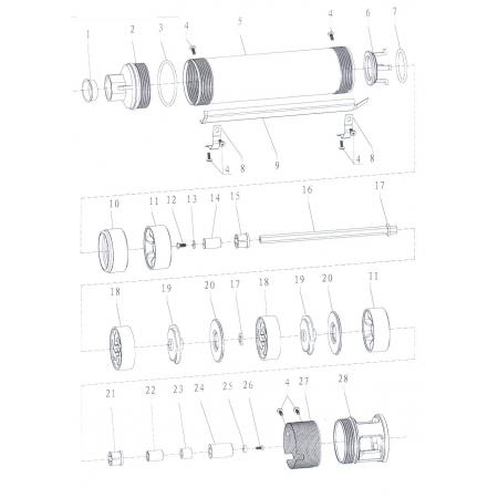 Насос Aquatica скважинный 777104. Насос центробежный 0.75кВт H 113(82)м Q 45(30)л/мин Ø75мм.