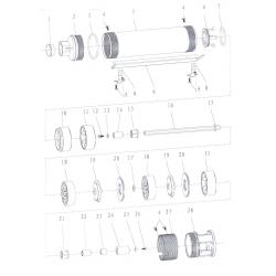 Насос Aquatica скважинный 777105. Насос центробежный 1.1кВт H 155(112)м Q 45(30)л/мин Ø75мм.