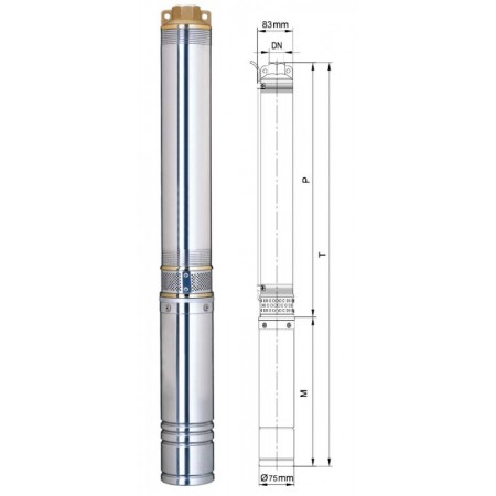 Насос Aquatica скважинный 777404. Насос центробежный 0.75кВт H 113(82)м Q 45(30)л/мин Ø75мм, 50м кабеля.