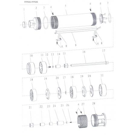 Насос Aquatica скважинный 777112. Насос центробежный 0.37кВт H 57(38)м Q 60(40)л/мин Ø85мм.
