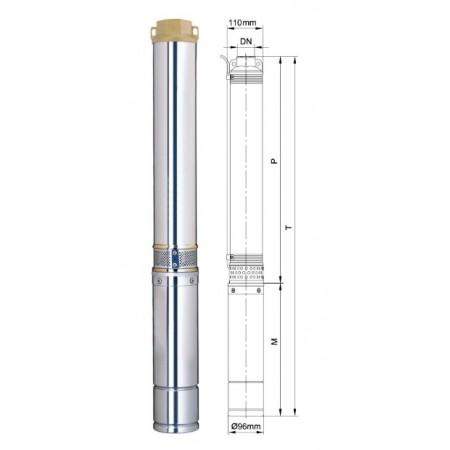 Насос Aquatica скважинный 777123. Насос центробежный 0.75кВт H 98(77)м Q 55(35)л/мин Ø96мм.