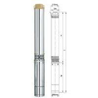 Насос Aquatica скважинный 777446. Насос центробежный 0.55кВт H 77(66)м Q 55(30)л/мин Ø96мм 45м кабеля.
