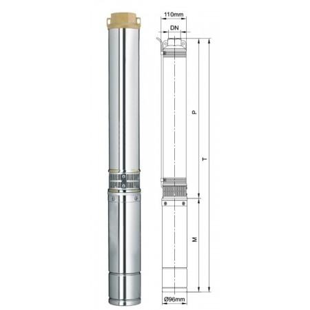 Насос Aquatica скважинный 777449. Насос центробежный 1.1кВт H 126(108)м Q 55(30)л/мин Ø96мм 70м кабеля.