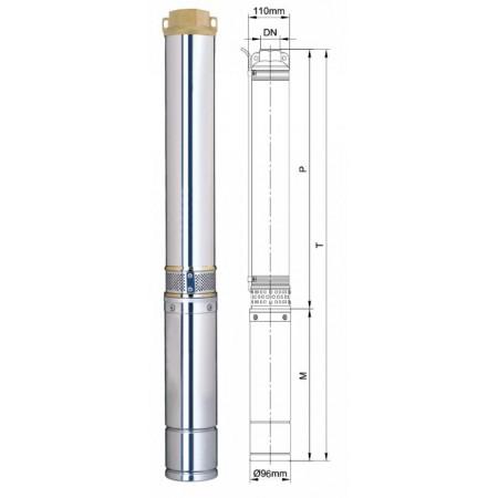 Насос Aquatica скважинный 777133. Насос центробежный 1.1кВт H 101(64)м Q 100(70)л/мин Ø96мм.