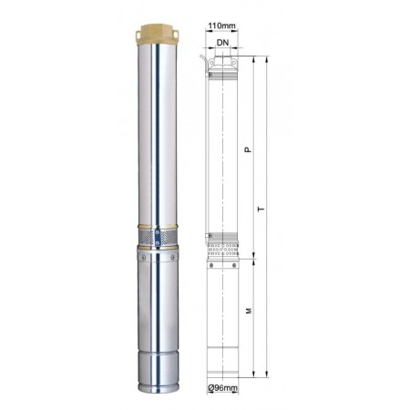 Насос Aquatica скважинный 777143. Насос центробежный 1.5кВт H 98(55)м Q 140(100)л/мин Ø96мм.