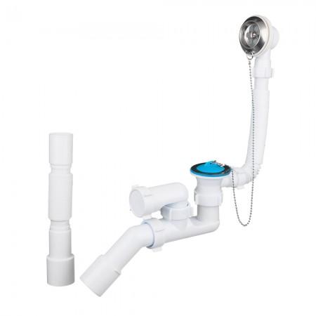 Сифон для ванны регулируемый с выпуском, переливом и гибкой трубой АНИ-пласт Е256