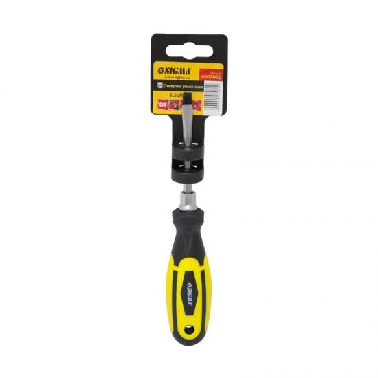 Отвертка усиленная шлицевая SL5x75мм под ключ CrV Sigma (4007061)