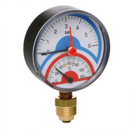 Термоманометр радиальный с запорным клапаном 1/2(0-6бар) Icma No258