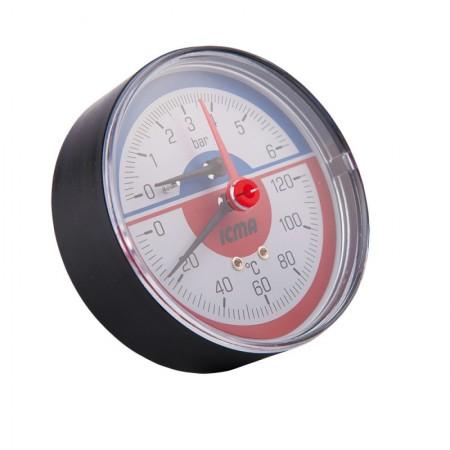 Термоманометр с запорным клапаном и задним подключением 1/2(0-6бар) Icma №259