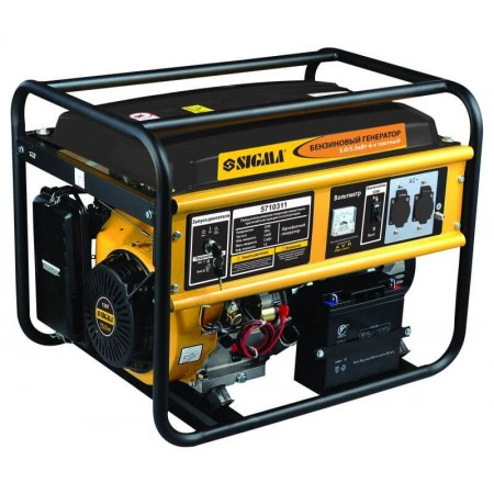 Генератор бензиновый Sigma 5710311. 5.0/5.5кВт 4-х тактный, ручной запуск.