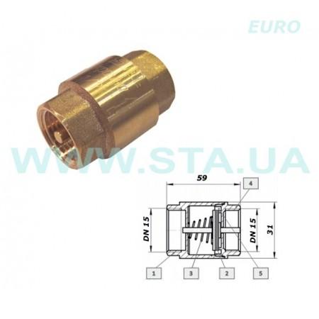 """Клапан STA Евро, обратный, латунный Ду 1/2""""."""