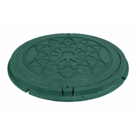 Люк садовый, круглый, зеленый, нагрузка 1т с запорным механизмом Ruslana.