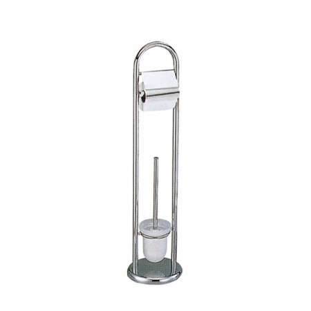 Ершик для унитаза напольный с держателем туалетной бумаги, стеклянный Potato Р324-4.