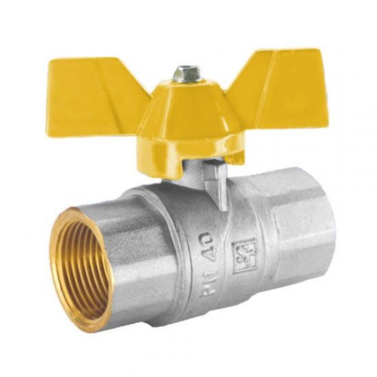 """Кран шаровой STA 150 (15) 1/2"""" ВВ для воды, никель, желтая бабочка"""