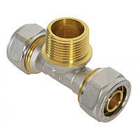 Тройник с наружной резьбой для металлопластиковой трубы Sanlux 16х1/2х16