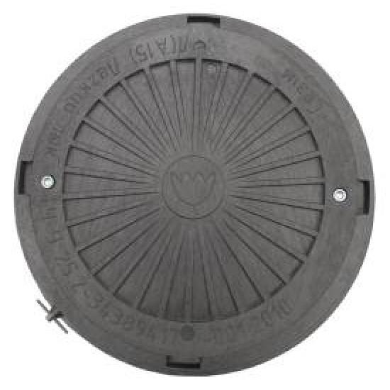 Люк смотровых колодцев полимерный черный с замком, нагрузка 3 тонны