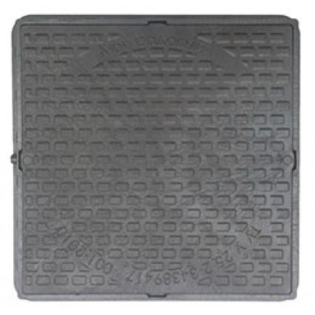 Люк полимерный квадратный черный, нагрузка 1 тонна