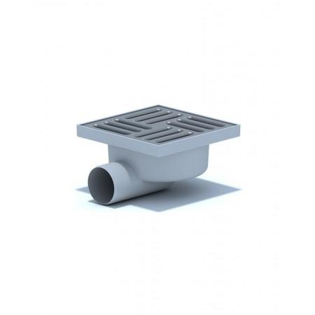 Трап Ани Пласт горизонтальный ТА 1112 нерегулируемый, с выпуском 110 мм, с нержавеющей решеткой 15х15 см.