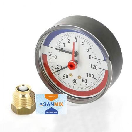 Термоманометр радиальный 1/2*1/4 80 мм KARRO с футоркой с клапаном