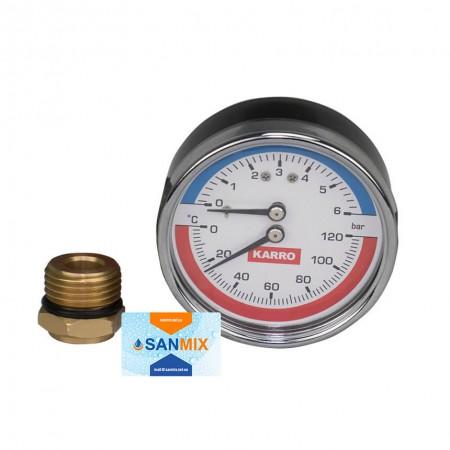 Термоманометр фронтальный 1/2*1/4 80 мм KARRO с футоркой с клапаном