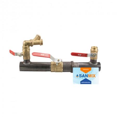Байпас для отопления с краном короткий 40 мм 1 1/2 дюйма 200 мм полнопроходной
