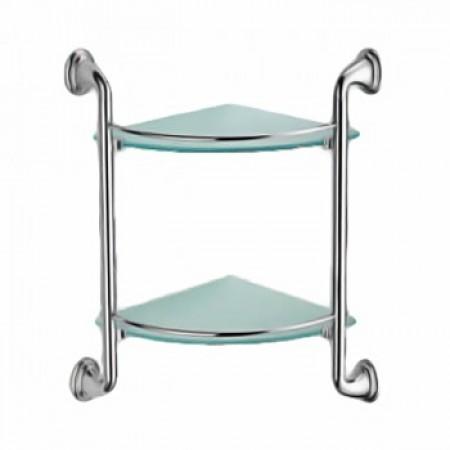 Полка угловая 2-ярусная (стекло) ZERIX LR1507-2