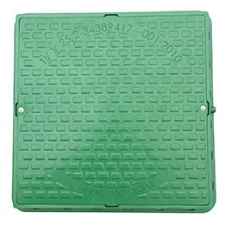 Люк садовый, квадратный, зеленый, нагрузка 1т с запорным механизмом Сезим.