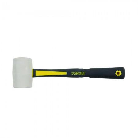 Молоток жестянщика белая резина 47мм фибергласовая ручка Sigma (4312011)