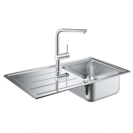 Набор Grohe EX Sink 31573SD0 кухонная мойка K500 + смеситель Minta 32168000
