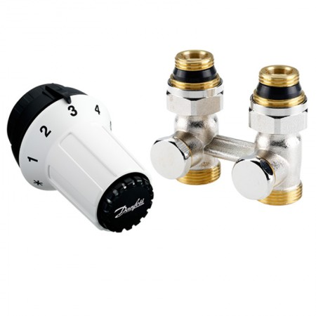 Комплект для подключения стальных радиаторов (нижн.подкл.) RAS-C+RLV-KS Danfoss 013G5277