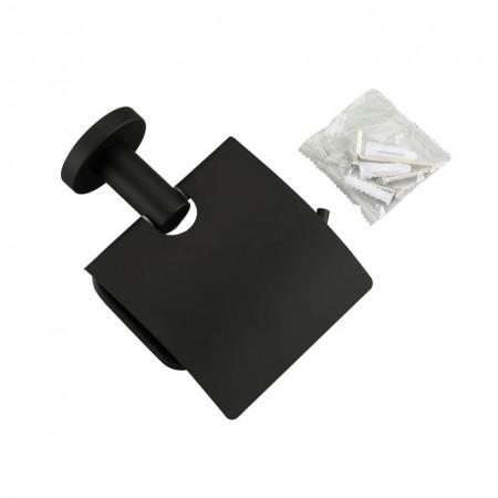 Бумагодержатель для туалета черный Frap F30203